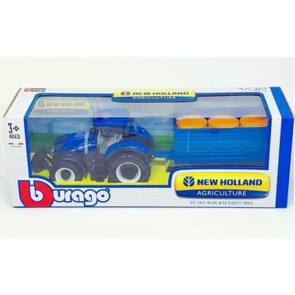 Bburago Коллекционный трактор с прицепом 1:32 HOLLAND FARM TRACTOR with TRAILER, Синий