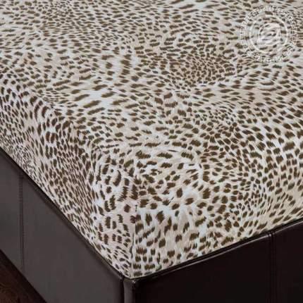 Простыня Трикотажная на Резинке 140х200х20 253 Леопард 100% Хлопок