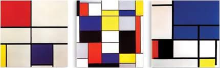 Картина модульная на холсте Модулка Цветные квадраты 120х40 см
