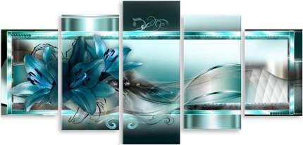Картина модульная на холсте Модулка Лилия в бирюзе 120х60 см
