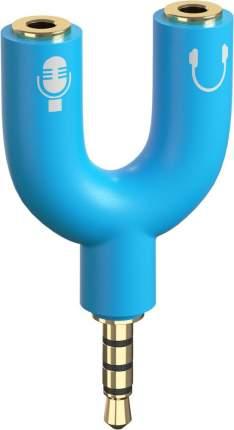 Аудио переходник GSMIN Taurus на микрофон и наушники 3.5мм Blue