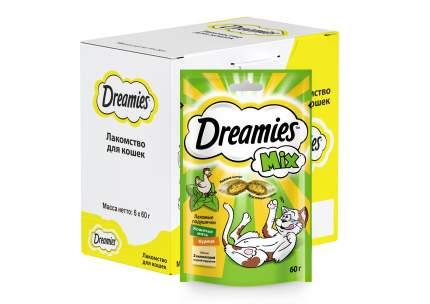 Лакомство для кошек Dreamies MIX, подушечки, с курицей и кошачьей мятой, 6 шт по 60г