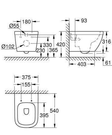 Унитаз подвесной без сиденья Grohe Euro Ceramic 39538000