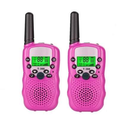 Набор 2-х портативных раций с двусторонней связью с ЖК-дисплеем детских, розовые GK0006A