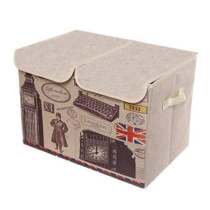 Двухсекционный складной короб для хранения Биг-Бен, 47х31х34 см (С печатной машинкой)