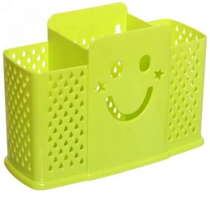 Подставка для сушки столовых приборов на 3 секции со смайликом (Зелёный)