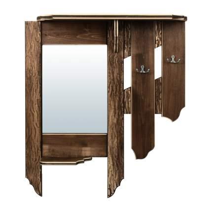 Зеркало с вешалкой и полкой Банные штучки, состаренное, 2 крючка, липа, 77x67x15 см