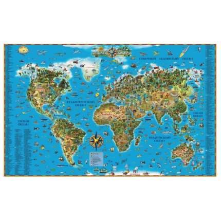"""Карта настенная для детей """"Мир"""", размер 116х79 см, ламинированная, тубус, 450"""