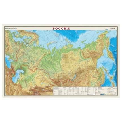 Карта настенная DMB Россия. Физическая карта, М-1:7 млн, 122х79 см, ламинированная, тубус