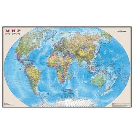 Карта настенная DMB Мир. Политическая карта, М-1:25 млн, 122х79 см, ламинированная, тубус