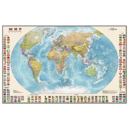 Карта настенная DMB Мир. Политическая карта с флагами, М-1:30 млн, размер 122х79 см