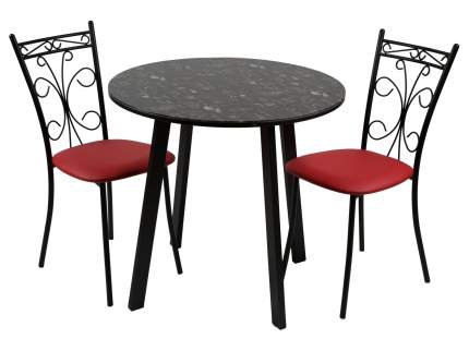 Обеденная группа Стол Филд + 2 стула Неаполь Кофе Хаус/Черный матовый/Экотек красный