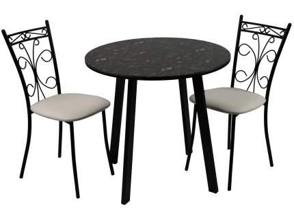 Обеденная группа Стол Филд + 2 стула Неаполь Кофе Хаус/Черный матовый/Линкольн белый