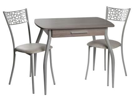 Обеденная группа Стол Граус + 2 стула Кемпер Дуб Навара/Белый мрамор/Серый мрамор, экокожа