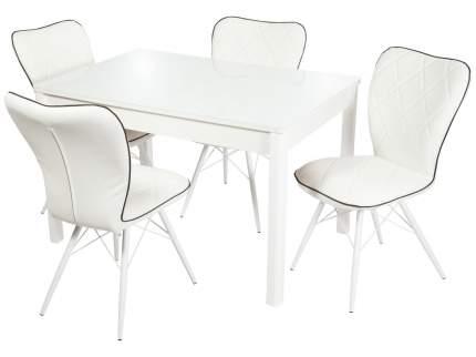 Обеденная группа Стол Гамбург + 4 стула Риоха Белый/Батлер 08; Nitro Black; Белый (массив)