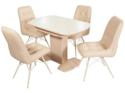Обеденная группа Стол Корсика + 4 стула Бордо Молочный, Дуб выбеленный/Батлер 02; Молочный