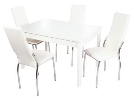 Обеденная группа Стол Гамбург + 4 стула Асти Батлер 08, экокожа/Белый, ЛДСП/Белый, стекло