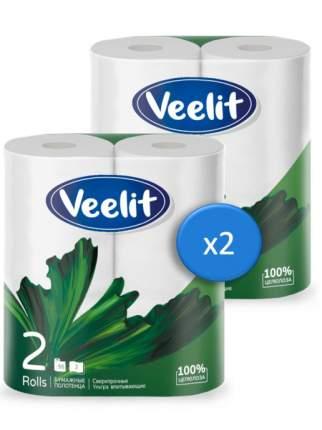 Бумажные полотенца VEELIT Comfort из первичной целлюлозы 2 слоя 4 рулона