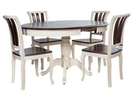Обеденная группа Леонардо стол + 4 стула Кабриоль Слоновая кость/Орех темный/Стекло