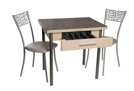 Обеденная группа Стол Милагро+2 стула Кемпер Мозаика бежевая/Крем/Белый-серый мрамор