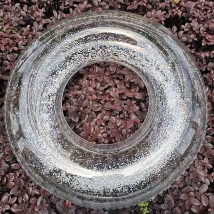 Надувной прозрачный круг Baziator с серебрянными блестками, диаметр 90 см.
