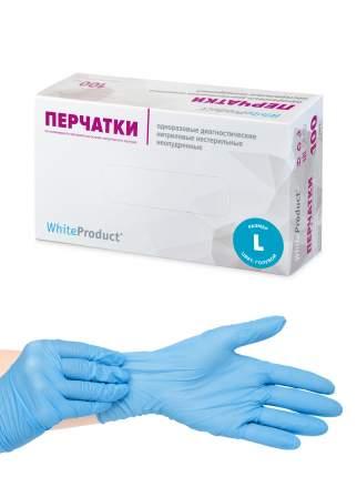 Перчатки медицинские WHITE PRODUCT текстурированные голубые, размер L, 100 шт, Нитрил