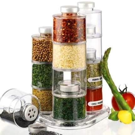 Набор емкостей для хранения специй Spice Tower Carousel на подставке 12шт., Прозачный