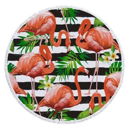 Коврик для пикника Baziator Beach Towel Фламинго в цветах, в полоску BG0081A 150х150 см