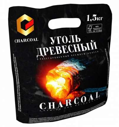 Брикетированный древесный уголь для гриля Charcoal 1.5 кг