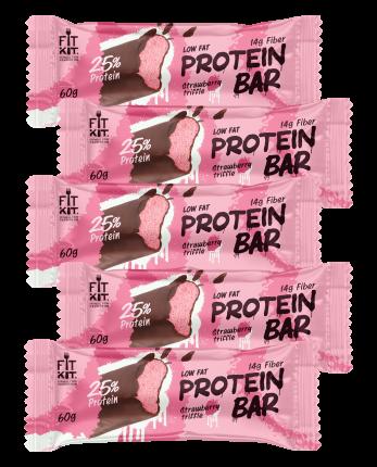 Fit Kit Protein BAR, 5шт по 60г (Клубничный трайфл)