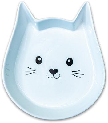 Одинарная миска для кошек КерамикАрт Мордочка кошек Белая; керамика; 0.2 л