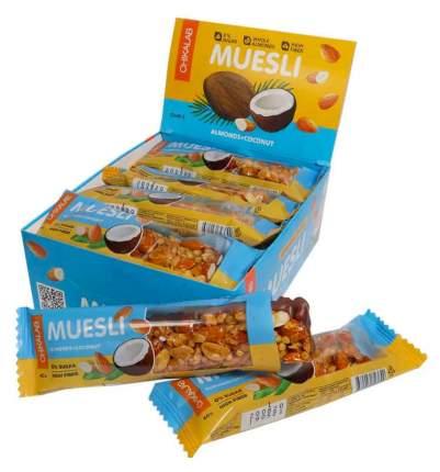 "Мюсли батончик CHIKALAB Muesli ""Миндаль-кокос"" (коробка, 12 штук по 40 гр)"