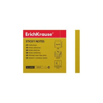 Бумага для заметок с клеевым краем ErichKrause® Neon 75х75 мм 80 л золотой