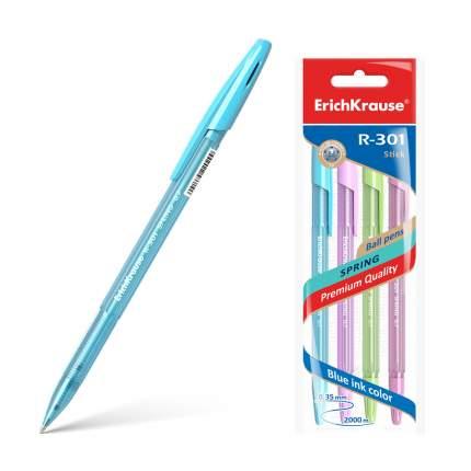 Ручка шариковая ErichKrause® R-301 Spring Stick 0.7, синий в пакете 4 шт