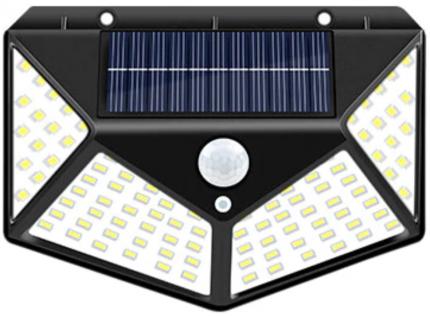 Светильники на солнечных батареях с датчиком света и движения, 100 LED ламп