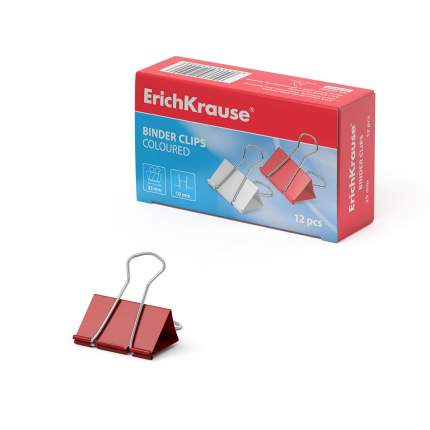 Зажимы для бумаг ErichKrause®, 25мм цветной (коробка 12 шт.)