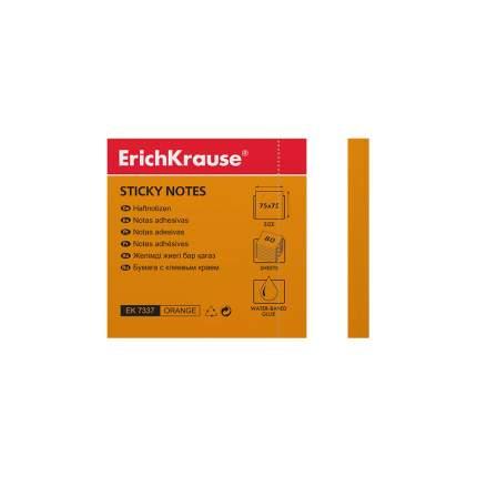 Бумага для заметок с клеевым краем ErichKrause® Neon 75х75 мм 80 л оранжевый