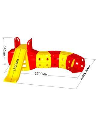Горка детская Doloni спуск 130 см, с игровым туннелем 2,7х1,8 м, желто-красный, Doloni