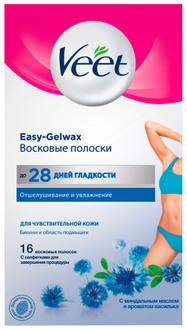 Восковые полоски Veet с технологией Easy-Gel Wax для линии бикини и области подмышек 16 шт