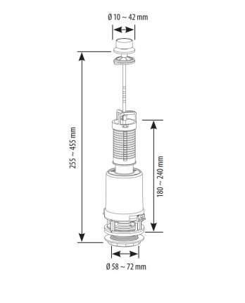 Колонка для сливного бачка SIAMP CLASSIC 42B тяга вверх с белой ручкой