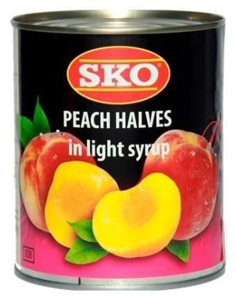 Консервированные персики SKO половинки в сиропе, жестяная банка, 850 мл