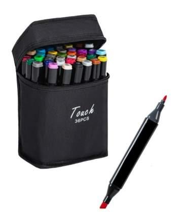 Набор профессиональных двухсторонних маркеров для скетчинга 36 цветов в чехле