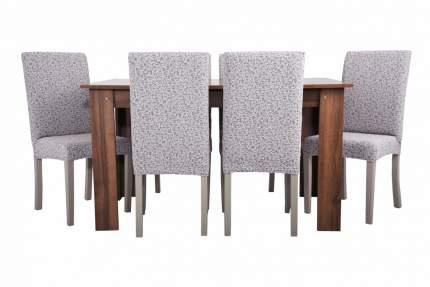 """Чехлы на стулья без оборки Venera """"Жаккард"""", цвет светло- серый, комплект 6 штук"""