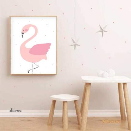 "Постер Poster First   ""Розовый фламинго"". Размер А4"