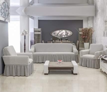Набор чехлов 3-х местный диван+2 кресла Fiyonk, кремово серый N830