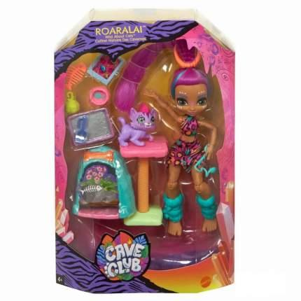 Игровой набор Cave Club Mattel с куклой Роралай и саблезубым котенком
