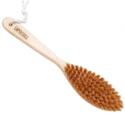 Щетка для сухого массажа Lapochka с ручкой щетина кабана средней жесткости