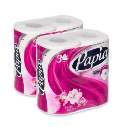 Туалетная бумага PAPIA Таинственный Сад 3 слоя 4 рулона  в наборе   2шт