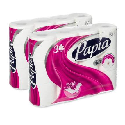 Туалетная бумага PAPIA Белая 3 слоя 12 рулонов  в наборе   2шт