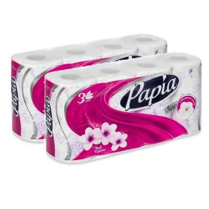 Туалетная бумага PAPIA Балийский Цветок 3 слоя 8 рулонов  в наборе   2шт